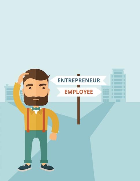 Angestellter zum unternehmer Premium Vektoren