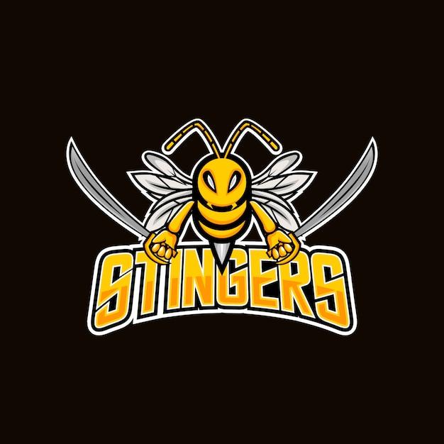 Angry bee esport maskottchen logo design Premium Vektoren