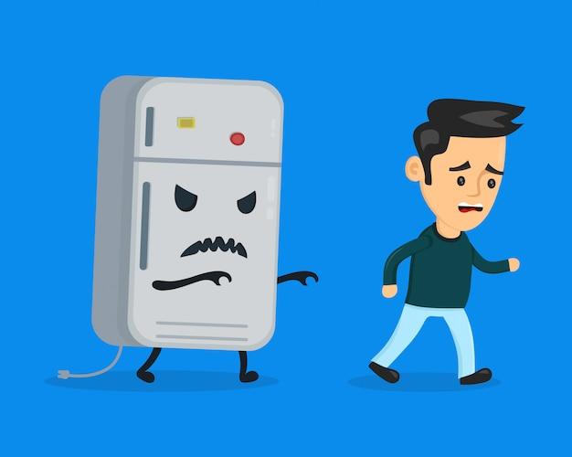 Angry böser kühlschrank läuft nach einem erschrockenen mann. flache karikaturcharakter-illustrationsentwurf. auf blauem hintergrund isoliert. ernährungsdiätkonzept Premium Vektoren