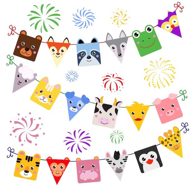 Animalistic dekor der tiergesichtsvektorkarikatur von kinderalles gute zum geburtstagfeiertag Premium Vektoren