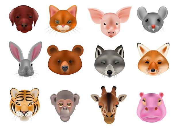 Animalistic maskierungsgesicht des tiermaskenvektors von wilden charakteren tragen wolfkaninchen und -katze oder -hund auf dem maskeradeillustrationssatz des karnevals maskierte den lokalisierten kostümaffe-maskeraden. Premium Vektoren