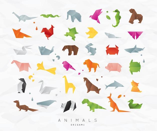 Animals origami farbe gesetzt Premium Vektoren
