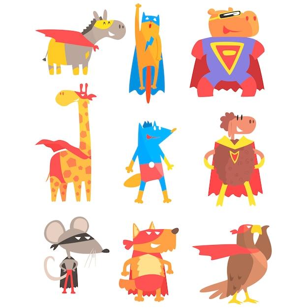 Animas als superhelden-set von geometrischen stil-aufklebern verkleidet Premium Vektoren