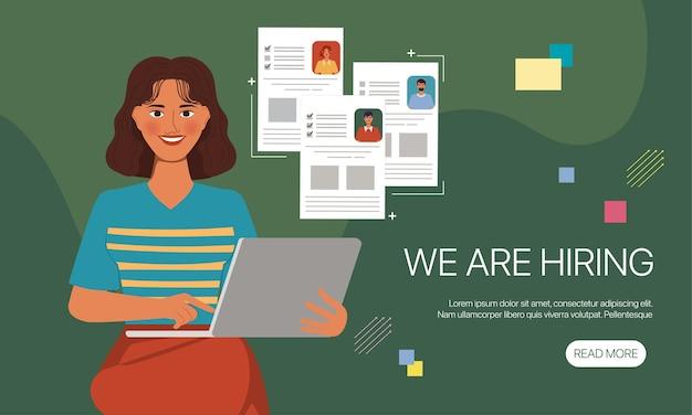 Animation charakter porträt frau einstellung job pose. flaches design-banner Premium Vektoren
