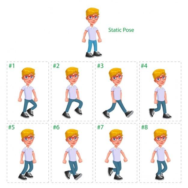 Animation der junge, der acht gehhilfen 1 statische pose vector cartoon isoliert characterframes Kostenlosen Vektoren