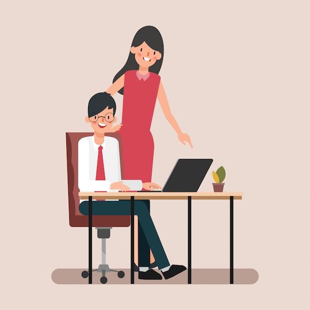 Animationsszenengeschäftsleute-kollege weisen job zu. Premium Vektoren