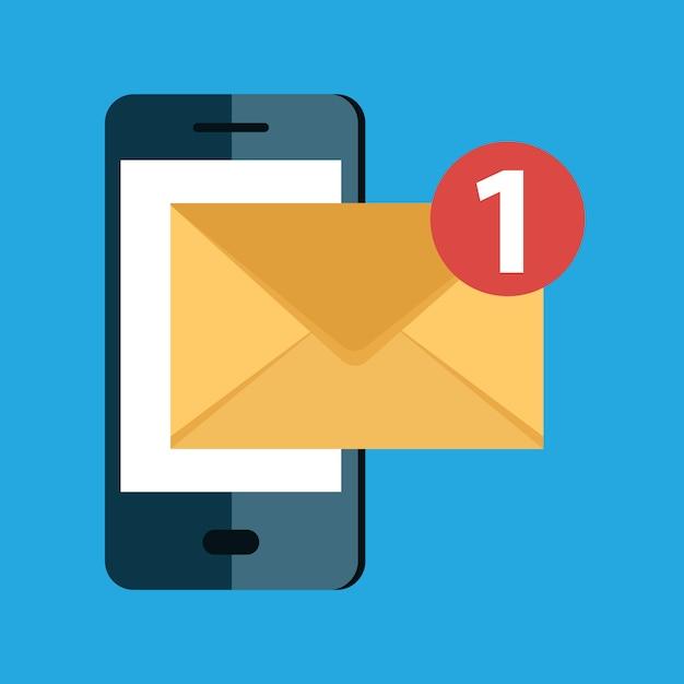 Ankommendes e-mail-nachrichten- und postzustelldienstkonzept Premium Vektoren