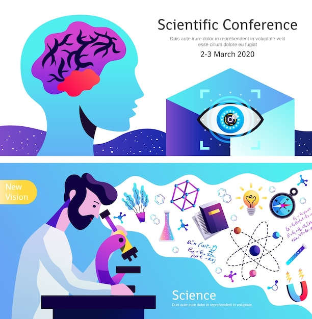 Ankündigung der wissenschaftskonferenz 2 horizontale abstrakte bunte fahnen gesetzt Kostenlosen Vektoren
