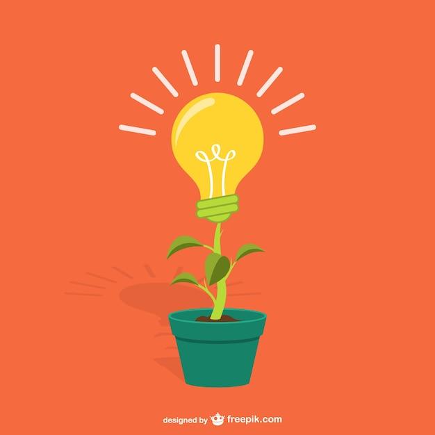 Anlage mit glühlampe-karikatur Kostenlosen Vektoren