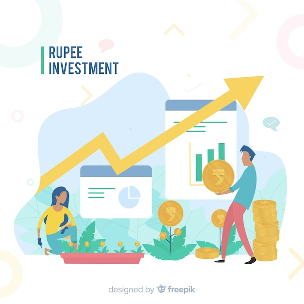Anlagekonzept der indischen rupie Kostenlosen Vektoren