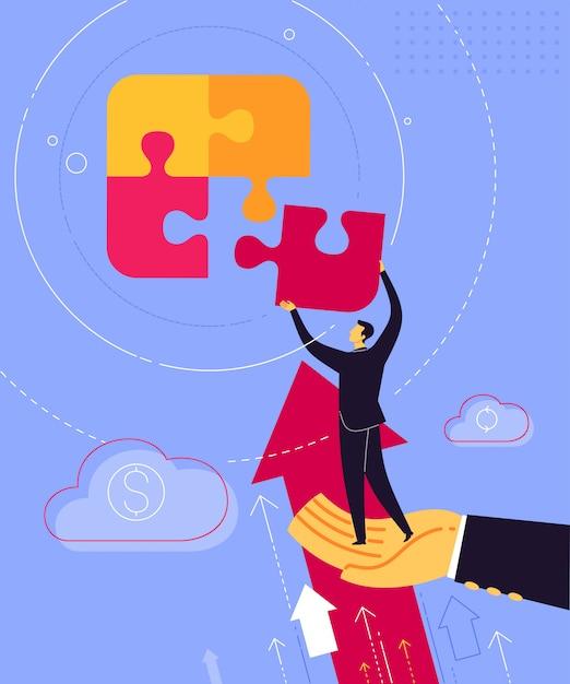 Anleitung zum zusammenfügen von puzzles Premium Vektoren