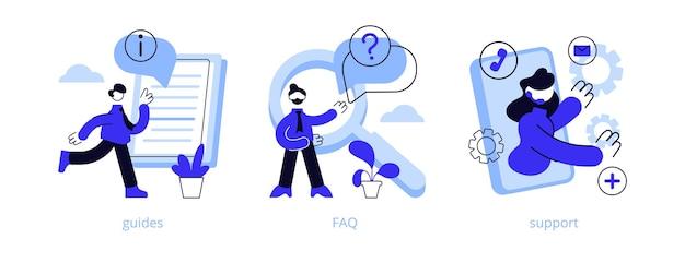 Anleitungen, faq und support-abschnitte. Premium Vektoren
