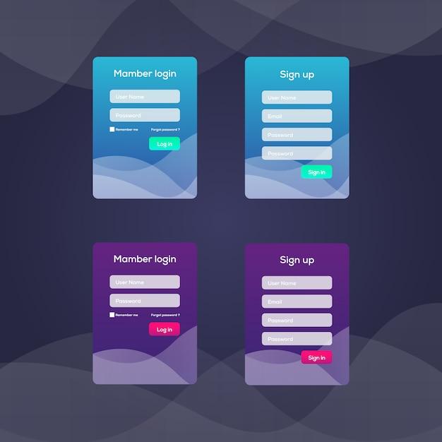 Anmeldebildschirm und anmeldeformularvorlage für die mobile app Premium Vektoren