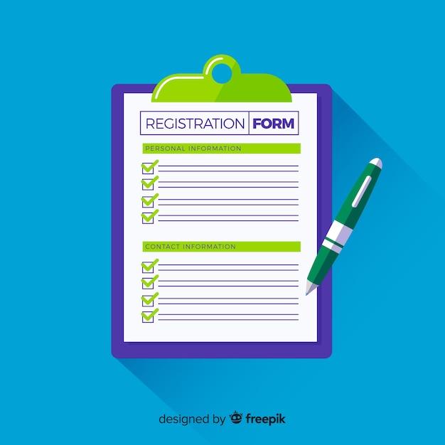 Anmeldeformular vorlage mit flacher gestaltung Kostenlosen Vektoren