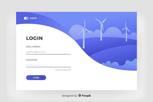 Anmelden landing page digital design Kostenlosen Vektoren