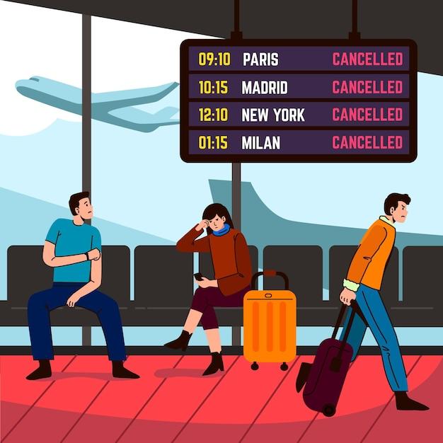 Annullierte flugleute, die am flughafen warten Kostenlosen Vektoren
