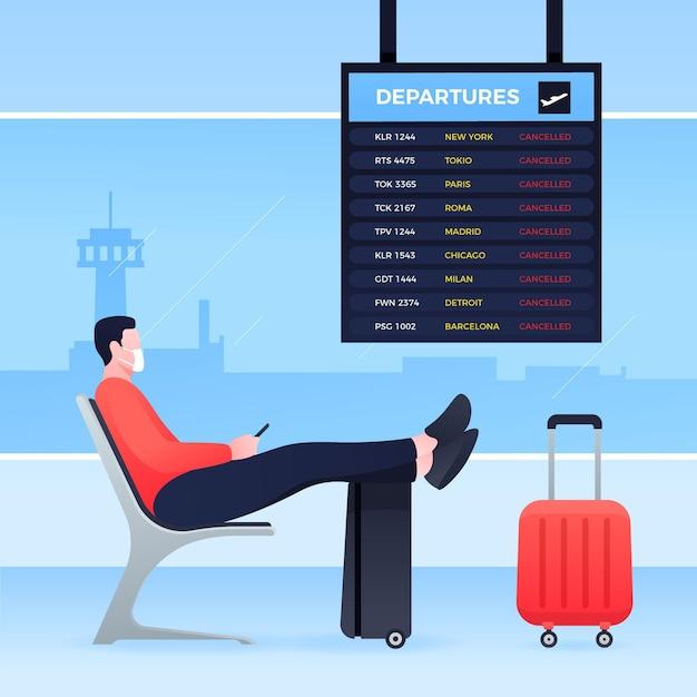 Annullierter flug mit passagier am flughafen Kostenlosen Vektoren