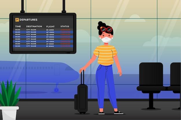 Annullierter flug mit passagier und gepäck Kostenlosen Vektoren