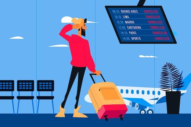 Annullierter flugmann, der gepäck trägt Premium Vektoren