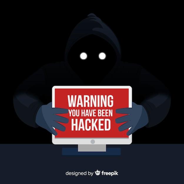 Anonymen hacker-konzept mit flachem design Kostenlosen Vektoren