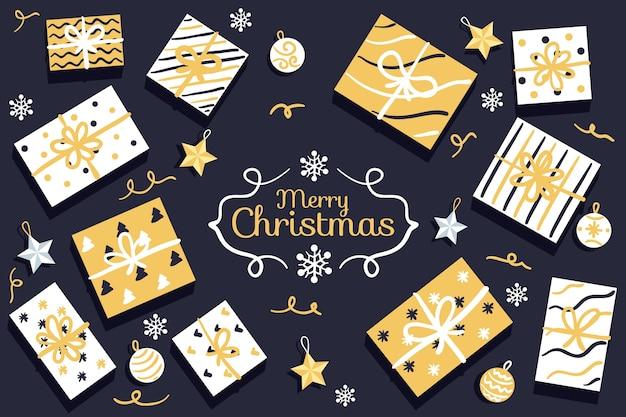 Anordnung für goldene geschenkboxen im packpapier Kostenlosen Vektoren