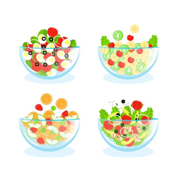 Anordnung von obst- und salatschüsseln Kostenlosen Vektoren