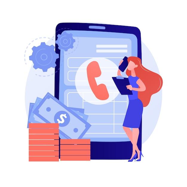 Anruf tätigen. kommunikation über smartphone. telefonkontakt, hotline, kundenbetreuung. probleme mit dem telefonberater lösen. mit dem handy sprechen. vektor isolierte konzeptmetapherillustration. Kostenlosen Vektoren