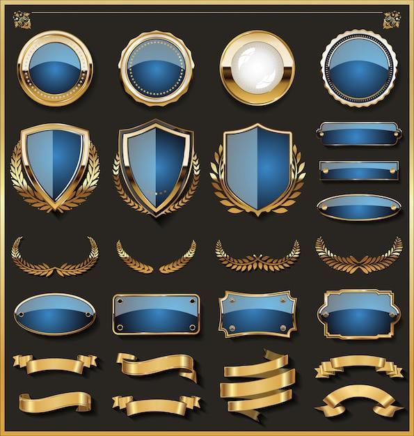 Ansammlung elegante blaue und goldene abzeichen Premium Vektoren