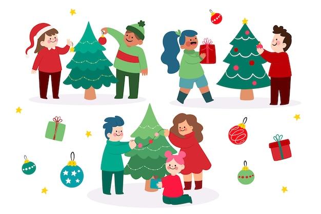 Ansammlung leute, die weihnachtsbaum verzieren Kostenlosen Vektoren