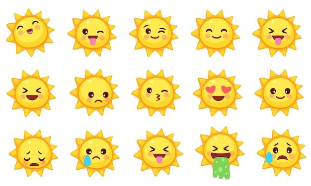 Ansammlung nette sonne emoticons Premium Vektoren