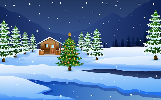 Ansicht der schneebedeckten holzhaus- und weihnachtsbaumdekoration Premium Vektoren