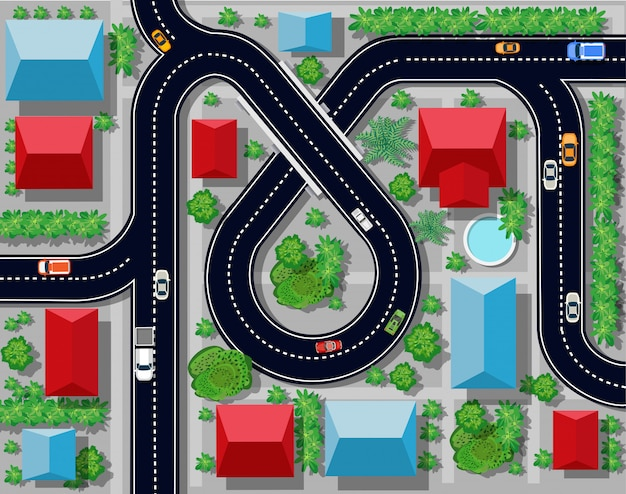Ansicht einer autobahnkreuzung Premium Vektoren