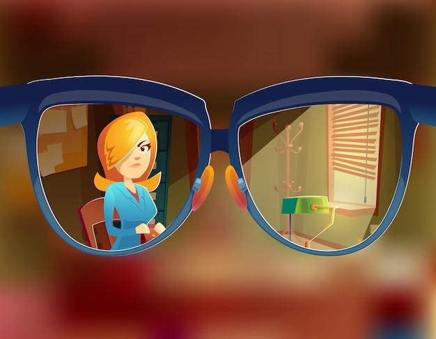 Ansicht von den Gläsern am Frauenkunden. Kurzsichtigkeit, Kurzsichtigkeit Konzept Kostenlose Vektoren