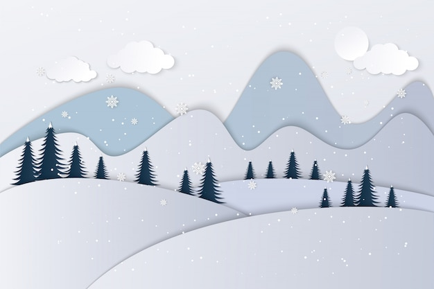Ansichten des hauses im winter. kunstdruckpapier und kunsthandwerk Premium Vektoren