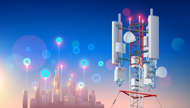 Antenne für drahtloses netzwerk. mobilfunkstation für smart city Premium Vektoren
