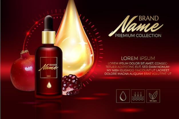 Anti-age-serum, creme mit granatapfelextrakt-hintergrundschablone Premium Vektoren