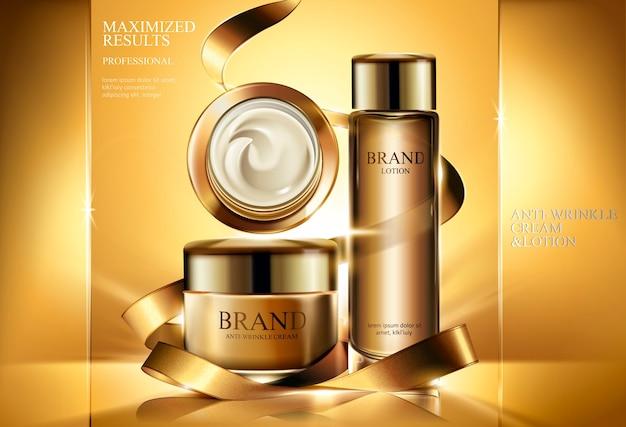 Anti-falten-produktanzeigen, kosmetisches cremeglas und lotion mit goldenen bändern und leuchtendem hintergrund in der illustration Premium Vektoren