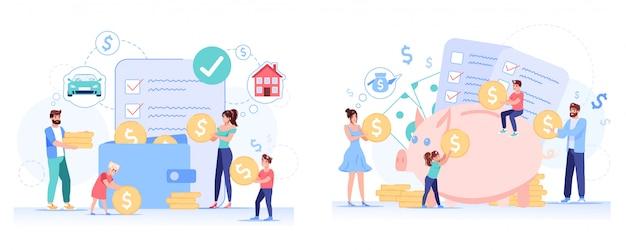 Anti-krisen-familienbudget-sparplan festgelegt Premium Vektoren