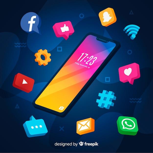 Antigravitations-smartphone mit elementen Kostenlosen Vektoren