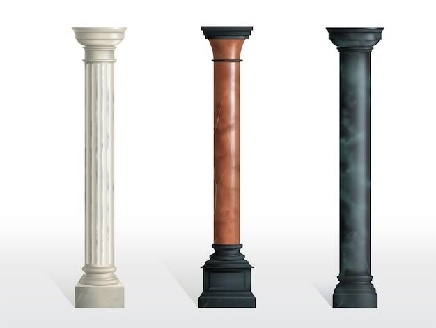 Antike zylinderförmige spalten des weißen, roten und schwarzen marmorsteins mit dem realistischen vektor der kubikbasis lokalisiert. alte architektur, historisches oder modernes gebäudeäußerelement Kostenlosen Vektoren