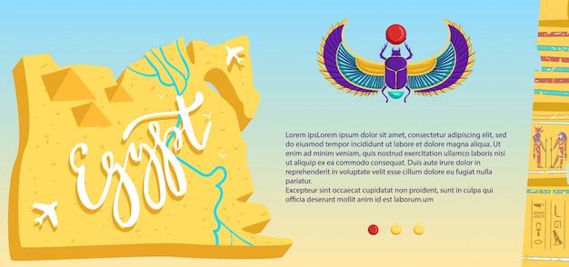 Antikes ägypten. karikatur flacher ägyptischer skarabäus, reisekarte mit wüste, fliegendem flugzeug, steinpyramidenruinen, kulturelles archäologisches wahrzeichen und symbole des ägyptischen kulturbanners Premium Vektoren