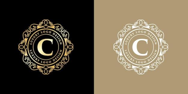 Antikes viktorianisches kalligrafie-emblemlogo des retro-luxus mit zierrahmen Premium Vektoren