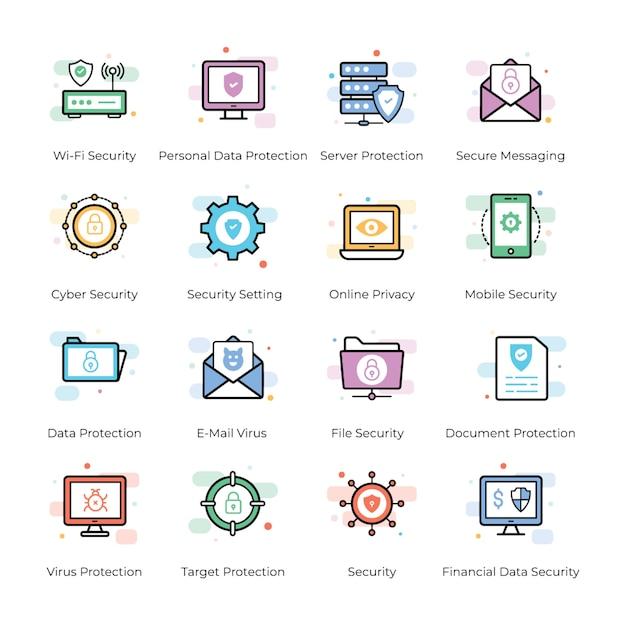 Antivirus- und sicherheitsikonen eingestellt Premium Vektoren