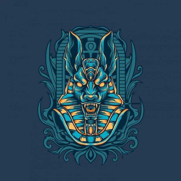 Anubis ägyptische illustration Premium Vektoren
