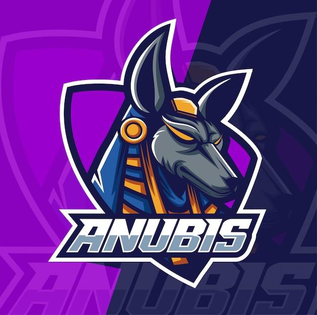 Anubis maskottchen esport logo Premium Vektoren