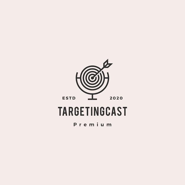 Anvisieren der retro- weinleseikone des podcastlogohippies für marketing-blogvideotutorial-kanalradiosendung Premium Vektoren