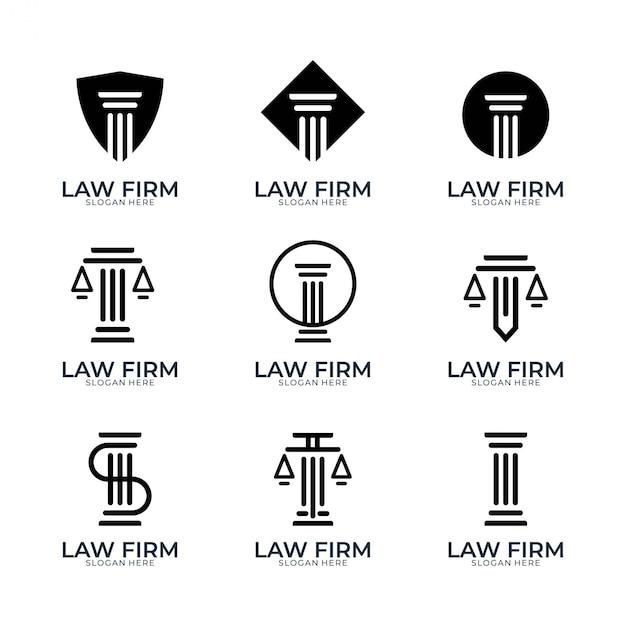 Anwaltskanzlei einfaches logo-design-set Premium Vektoren