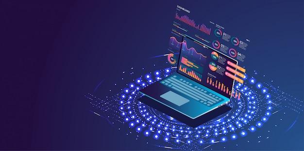 Anwendung des laptops mit geschäftsdiagramm Premium Vektoren