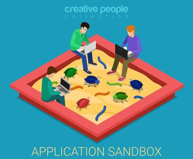 Anwendungsentwicklung sandbox debug flach isometrisch Kostenlosen Vektoren
