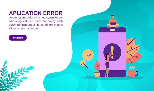 Anwendungsfehler-illustrationskonzept mit charakter Premium Vektoren
